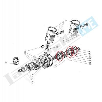 Anello elastico spallamento cuscinetto albero motore
