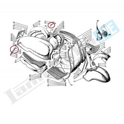 Coppia ganci, cursore, anello di tenuta, molla e scodellino meccanismi interni
