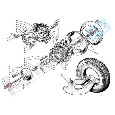 Dado interno 12mm per mozzo ruota anteriore