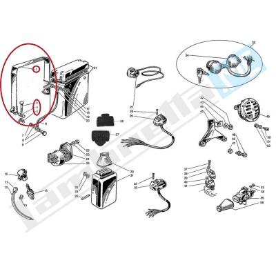 Cintura con vite, cilindretto e dado ad alette per batteria