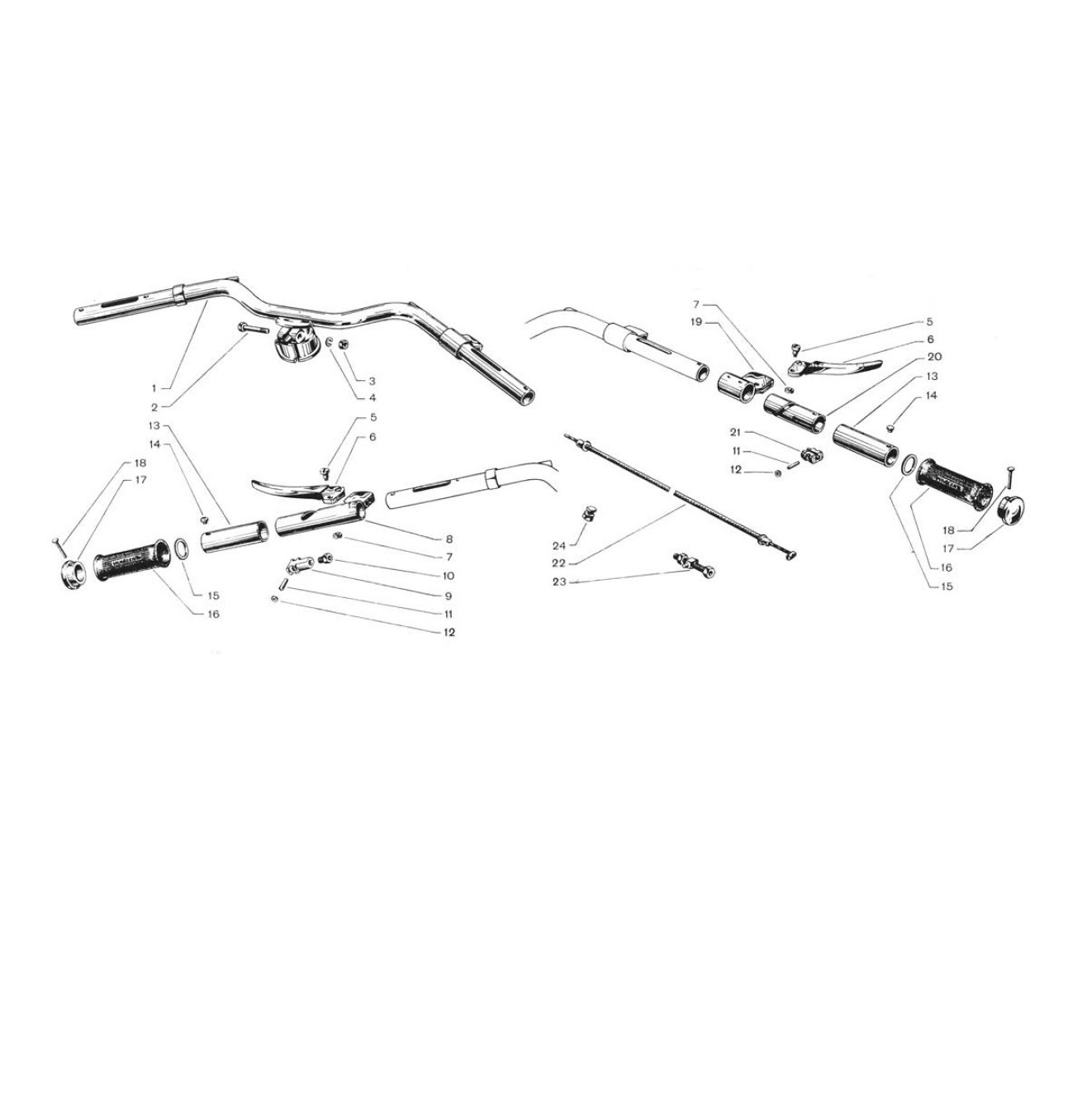 Manubrio acciaio con comando (Tav.11)