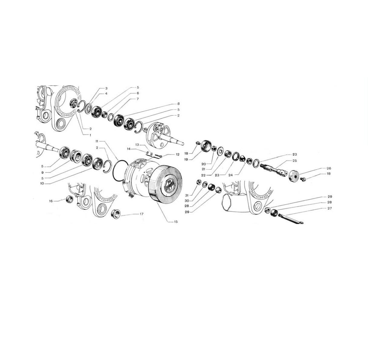 Supporto motore, cuscinetti e paraoli albero motore,coperchio volano (Tav.2)