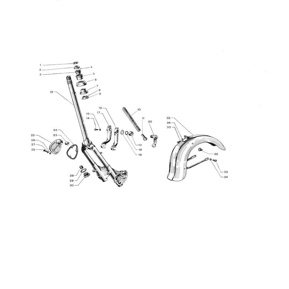 Forcella, parafango e molleggio anteriore (Tav.14)