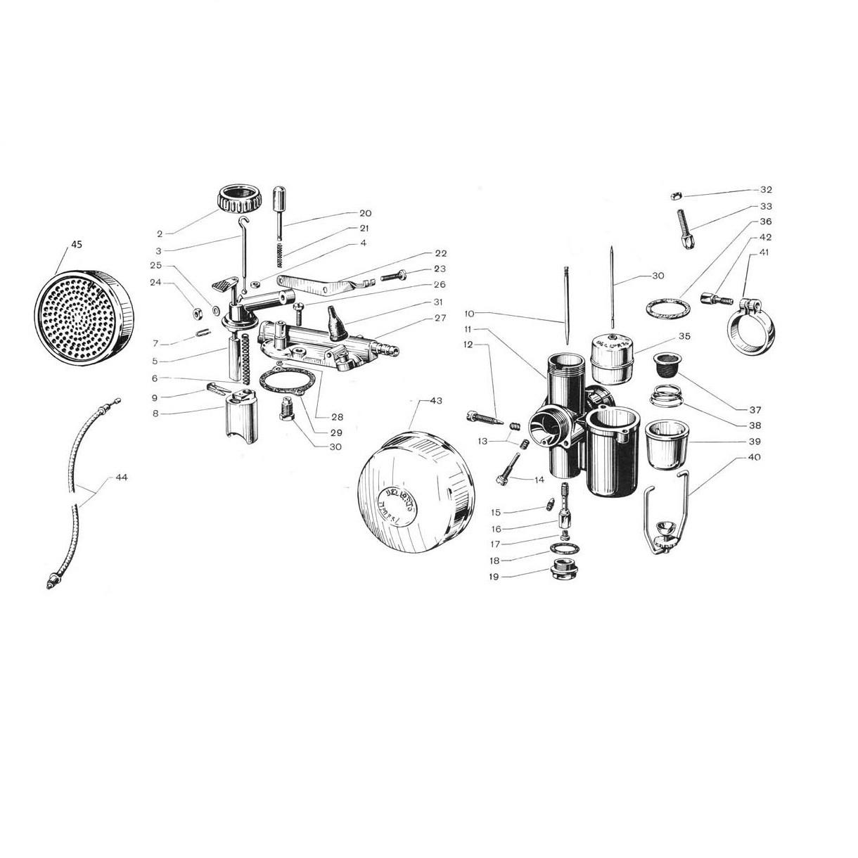 """Carburatore """"Dell'Orto"""" con comando (Tav.19)"""