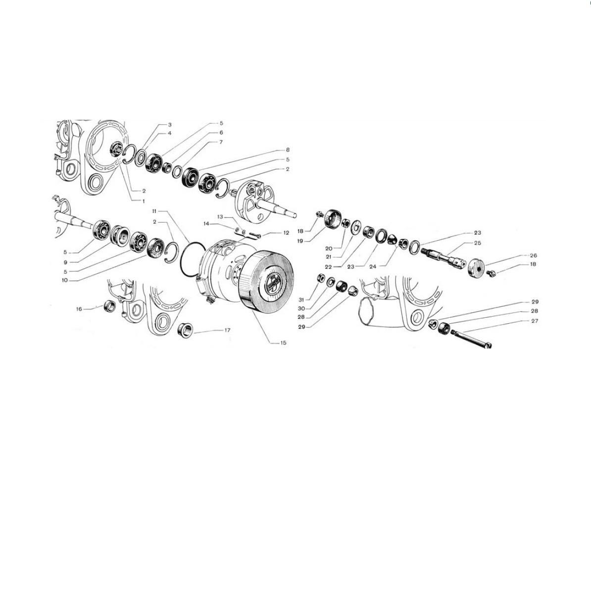 Supporto motore, cuscinetti e paraoli albero motore, coperchio volano (Tav.2)