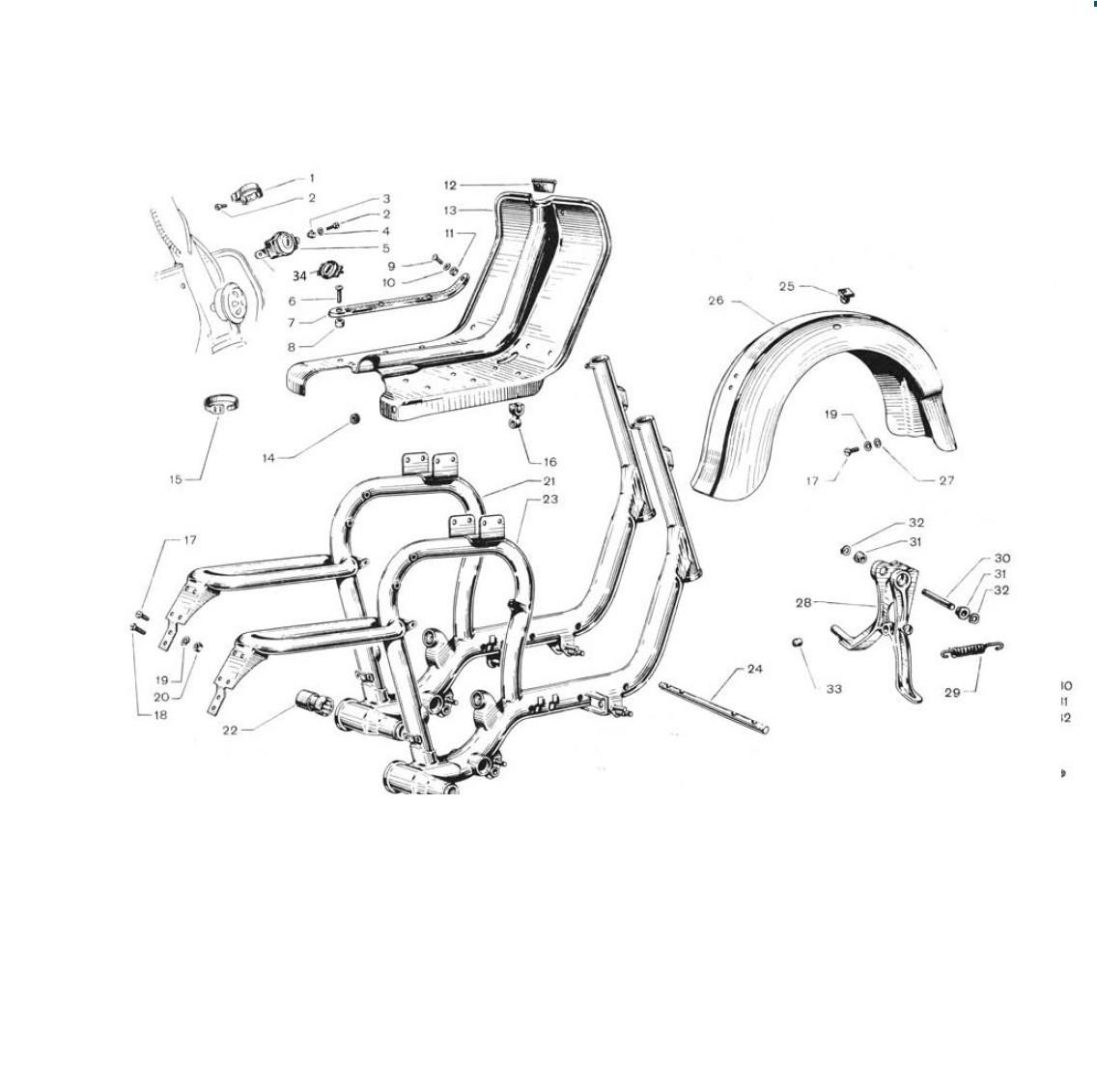 Telaio, cavalletto,pedana e parafango posteriore (Tav.7)