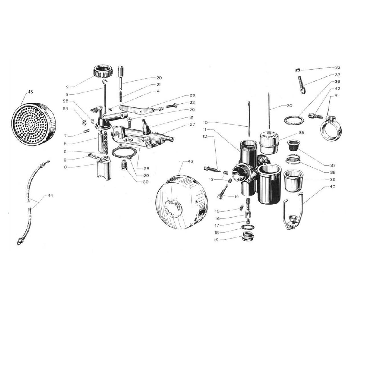 Carburatore Dell'Orto con comando (Tav.19)