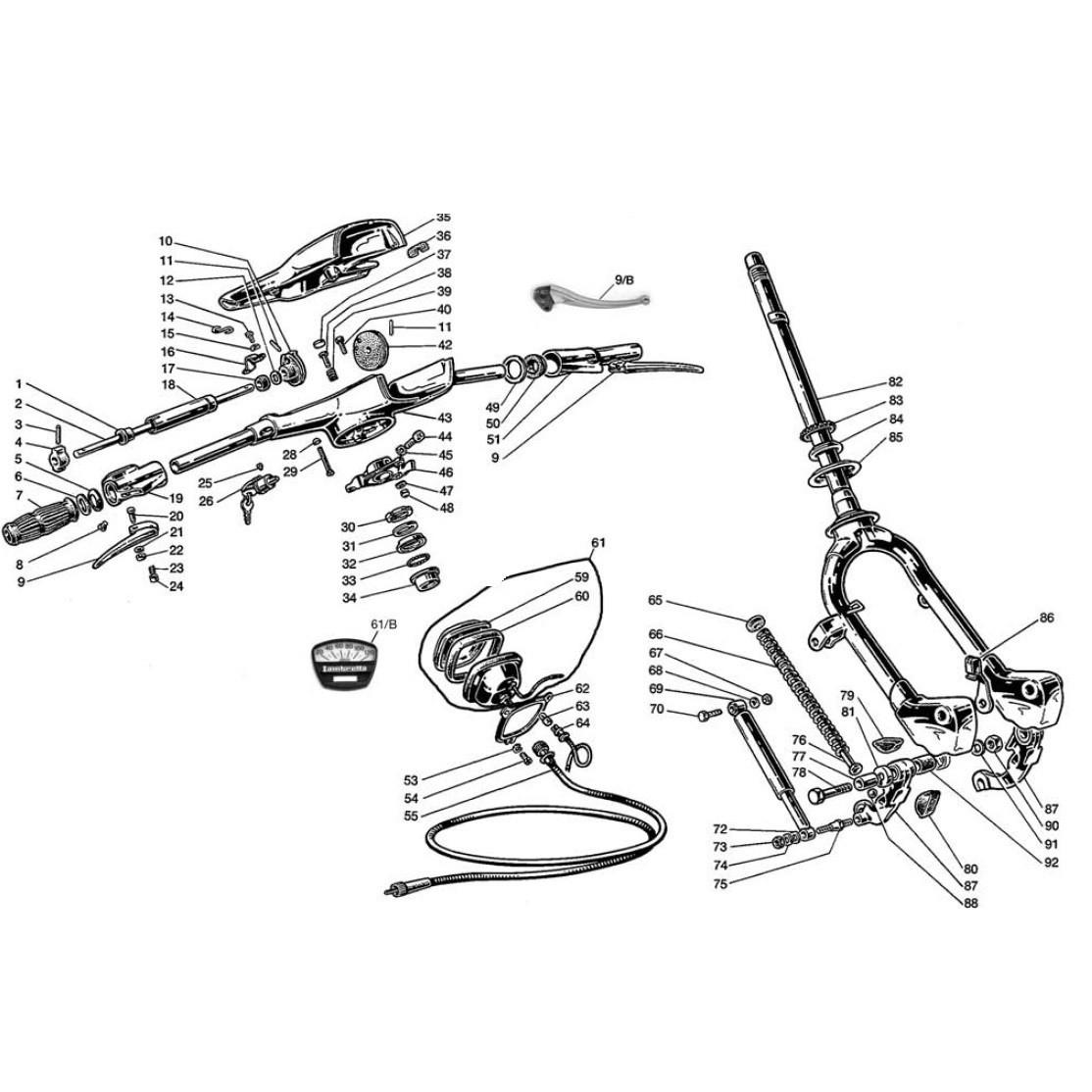 Manubrio, Forcella e Tachimetro (Tav.8)